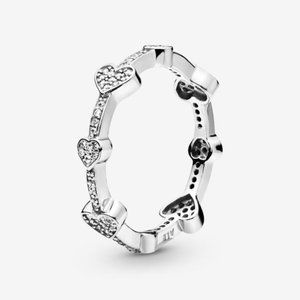 Pandora Pavé Hearts Band Ring